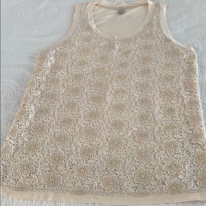J Crew tank top with lace. Size XS. LIKE NEW